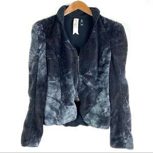 BIRD Juicy Couture jacket M black faux fur o1207